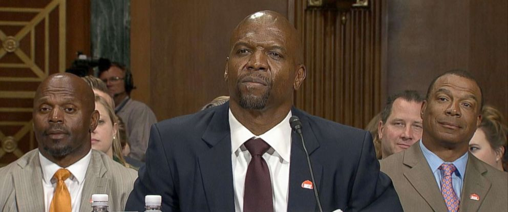 PHOTO: Terry Crews testifies during this Senate Judiciary Committee hearing on Capitol Hill, June 26, 2018, in Washington.