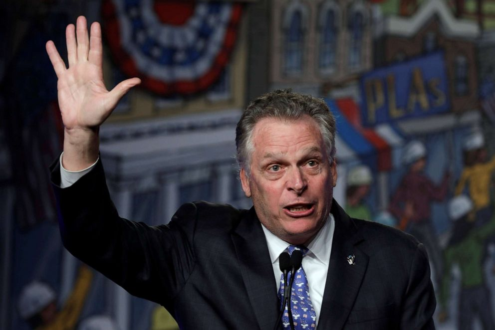 PHOTO: Former Virginia governor Terry McAuliffe speaks at the North Americas Building Trades Unions (NABTU) 2019 legislative conference in Washington, April 10, 2019.