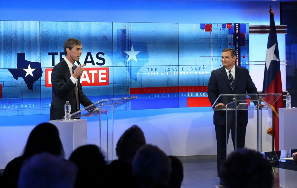 PHOTO: Rep. Beto ORourke, left, and Sen. Ted Cruz take part in a debate for the Texas Senate, Oct. 16, 2018, in San Antonio.
