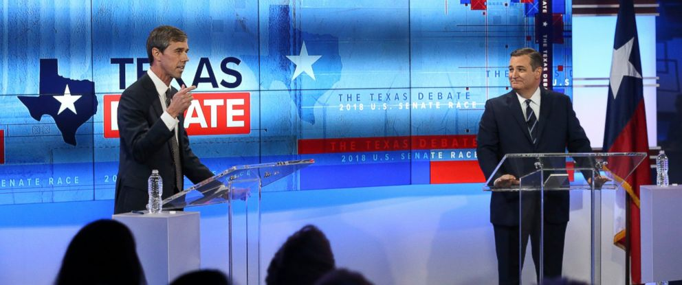 PHOTO: U.S. Rep. Beto ORourke, D-Texas, left, and U.S. Sen. Ted Cruz, R-Texas, right, take part in a debate for the Texas U.S. Senate, Tuesday, Oct. 16, 2018, in San Antonio.