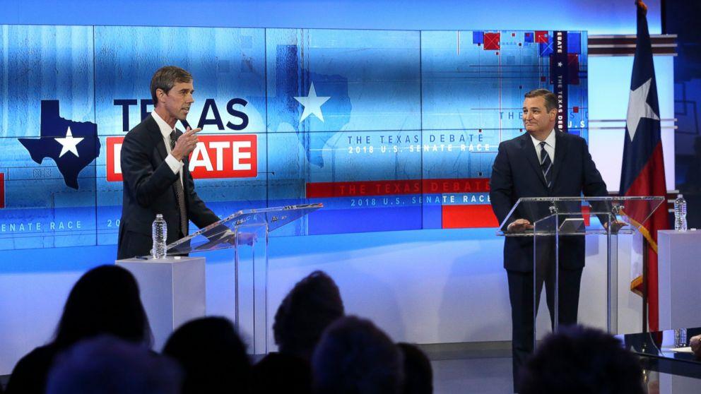 U.S. Rep. Beto O'Rourke, D-Texas, left, and U.S. Sen. Ted Cruz, R-Texas, right, take part in a debate for the Texas U.S. Senate, Tuesday, Oct. 16, 2018, in San Antonio.