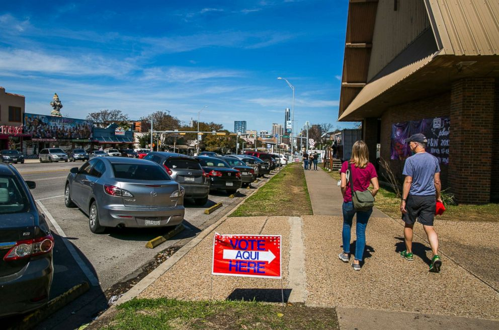 PHOTO: Pedestrians walk by The Church on South Congress, a designated voting location as Texans go to the polls for the nations first primary of 2018 on March 6, 2018 in Austin, Texas.