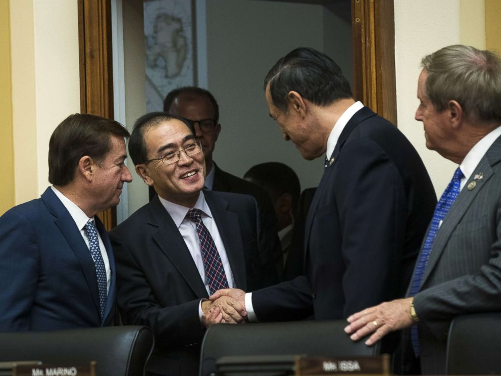 PHOTO: Thae Yong-ho, former chief of mission at the North Korean embassy in the United Kingdom, is greeted by members of congress at the start of a House Foreign Affairs Committee hearing on Capitol Hill, Nov. 1, 2017 in Washington.