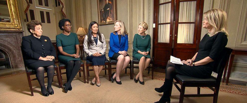 "PHOTO: ""This Week"" Co-Anchor Martha Raddatz interviews newly elected congresswomen Donna Shalala, D-Fla., Lauren Underwood, D-Ill., Deb Haaland, D-N.M., Abigail Spanberger, D-Va., and Chrissy Houlahan, D-Pa."