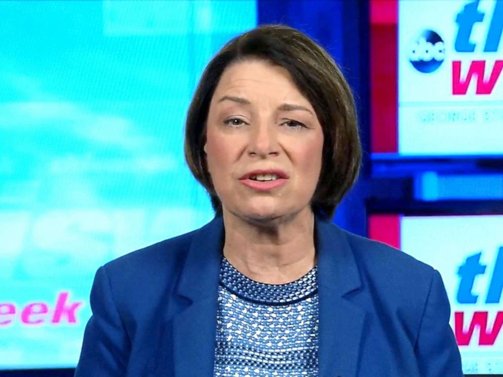 PHOTO: Democratic presidential candidate Amy Klobuchar appears on This Week With George Stephanopoulos, Sept. 15, 2019.