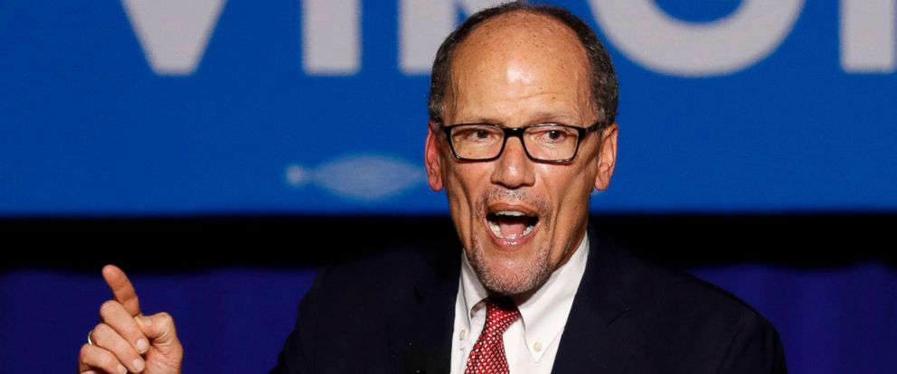 PHOTO: Democratic National Committee Chairman Tom Perez speaks at an election night rally in Fairfax, Va., Nov. 7, 2017.