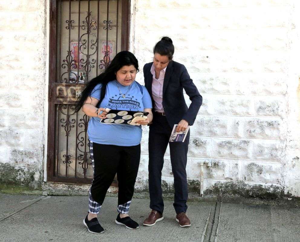 PHOTO: Tiffany Caban canvasses for votes with Aracelly Cantos, an activist with Make the Road Action, an immigrant rights group, in Queens, New York, June 21, 2019.