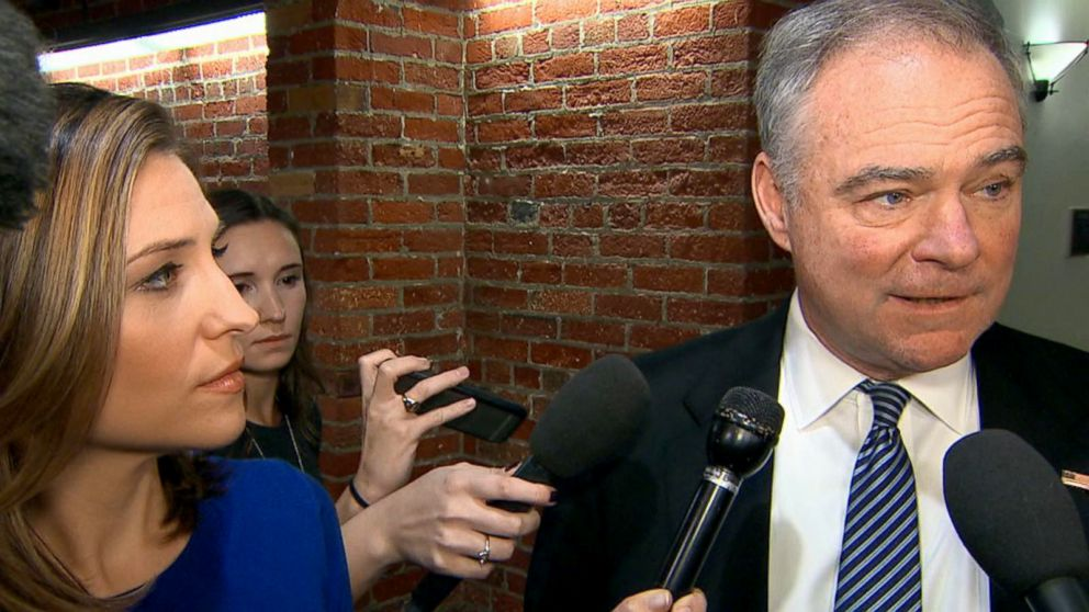 PHOTO: Senator Tim Kaine responds to Sen. Al Frankens decision to resign amid sexual misconduct allegations, Dec. 7, 2017, in Washington.