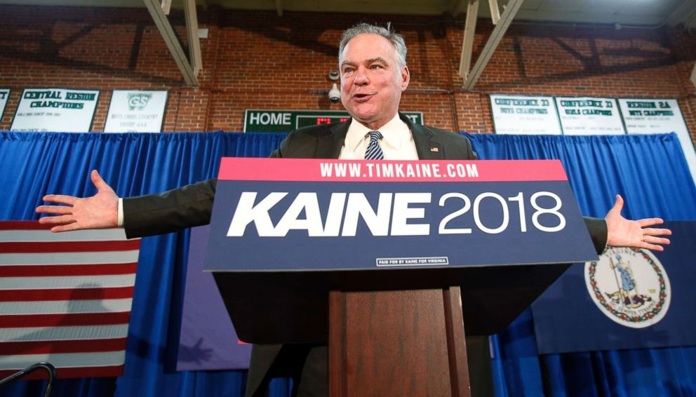 PHOTO: Sen. Tim Kaine gestures during a speech at a campaign kickoff rally in Richmond, Va., April 2, 2018.