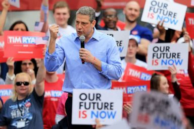 PHOTO: Rep. Tim Ryan speaks as he launches his campaign as a Democratic presidential candidate at a rally in Youngstown, Ohio, April 6, 2019.