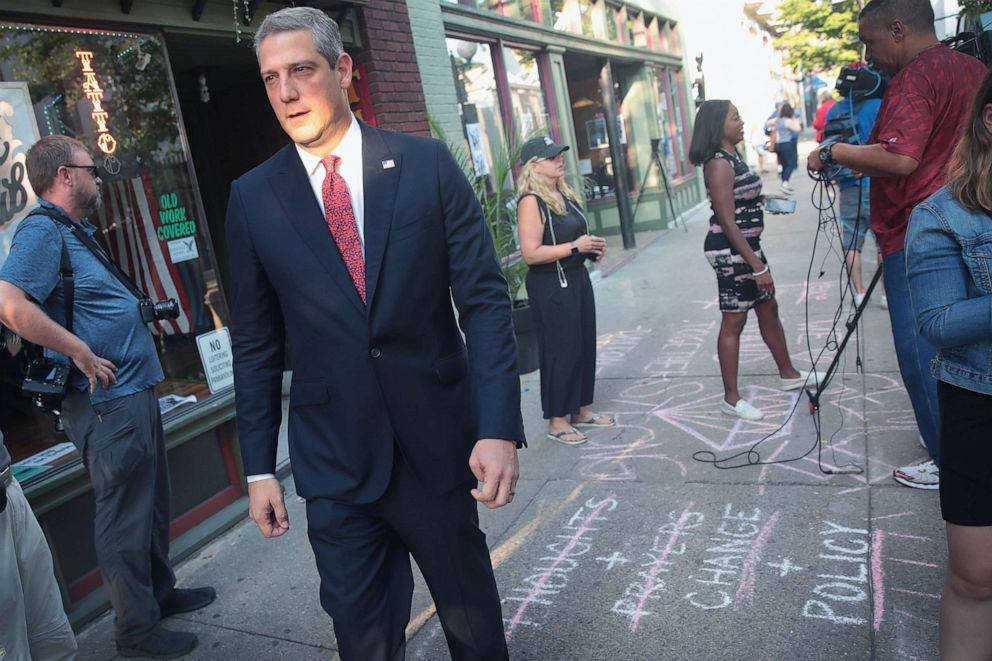 PHOTO: Democratic presidential candidate and Ohio congressman Tim Ryan visits the Oregon District following a mass shooting, Aug. 5, 2019, in Dayton, Ohio.