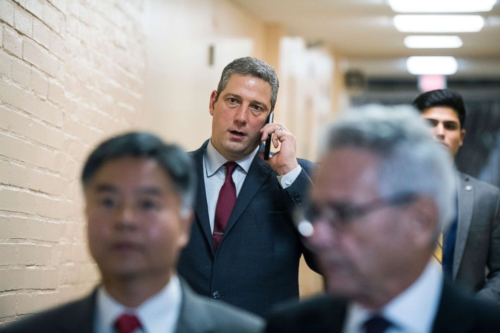 PHOTO: Rep. Tim Ryan arrives for the House Democrats caucus meeting in the Capitol, Nov. 15, 2018, in Washington, DC.