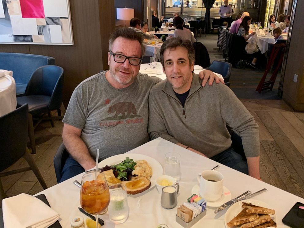 PHOTO: Tom Arnold and Michael Cohen are pictured together in a photo shared on Tom Arnolds Twitter account, April 5, 2019.