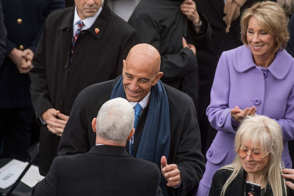 PHOTO: Thomas Barrack, chairman of the Presidential Inaugural Committee, greets Vice President Mike Pence on the West Front of the Capitol before Donald J. Trump was sworn in as the 45th President of the United States, January 20, 2017.