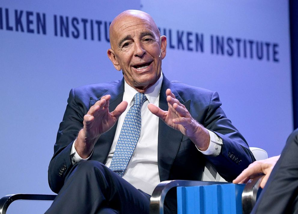 PHOTO: Thomas Barrack, Executive Chairman and CEO, Colony Capital, participates in a panel discussion during the annual Milken Institute Global Conference at the Beverly Hilton Hotel, April 28, 2019, in Beverly Hills, Calif.