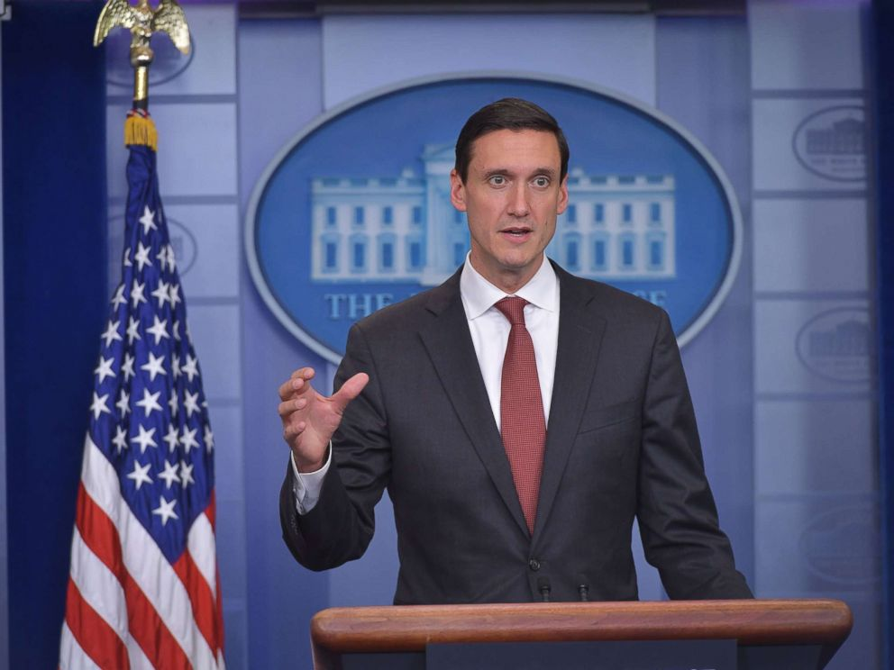 PHOTO: Homeland security advisor Tom Bossert speaks during a press conference in the Brady Briefing Room of the White House, Sept. 8, 2017, in Washington.