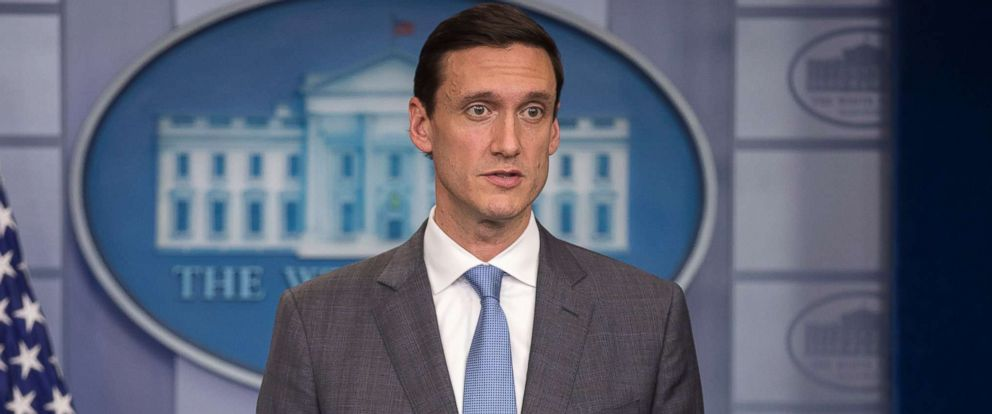 PHOTO: White House Homeland Security Advisor Thomas Bossert responds to a question on hurricane Harvey from the news media during the daily press briefing at the White House, Aug. 25, 2017.