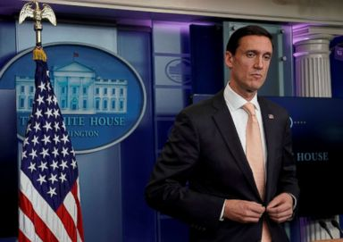 PHOTO: White House Homeland Security Adviser Tom Bossert speaks about the situation in Texas, during a news briefing at the White House on Aug. 31, 2017.