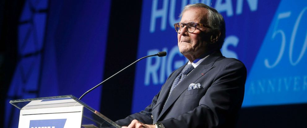 PHOTO: Journalist Tom Brokaw speaks during the Robert F. Kennedy Human Rights Ripple of Hope Awards ceremony in New York, Dec. 12, 2018.