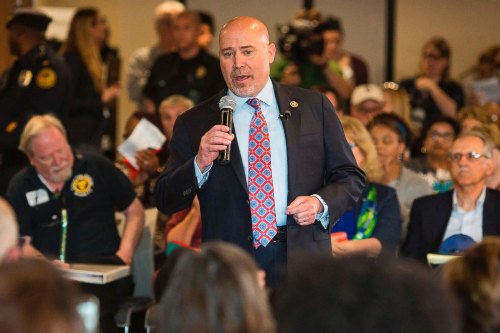 PHOTO: US Representative Tom MacArthur speaks to constituents during a town hall meeting in Willingboro, New Jersey, May 10, 2017.