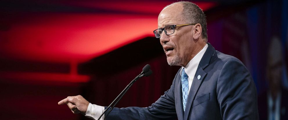 PHOTO: Tom Perez, chairman of the Democratic National Committee (DNC), speaks during the DNC Summer Meeting in San Francisco, California, U.S., on Friday, Aug. 23, 2019.