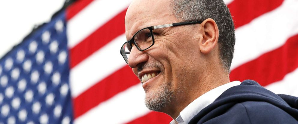 PHOTO: In this Nov. 4, 2018, file photo, Tom Perez, Chairman of the Democratic National Committee, waits to speak during an early voting campaign event in Cincinnati.