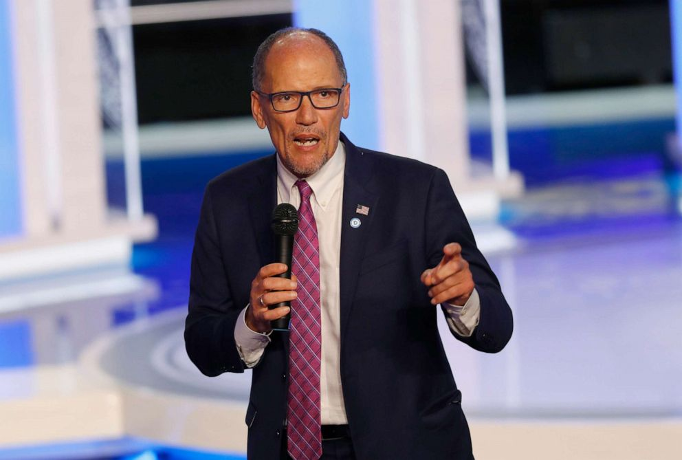 PHOTO: DNC Chair Tom Perez speaks before the start of a Democratic primary debate at the Adrienne Arsht Center for the Performing Arts, in Miami, June 27, 2019.