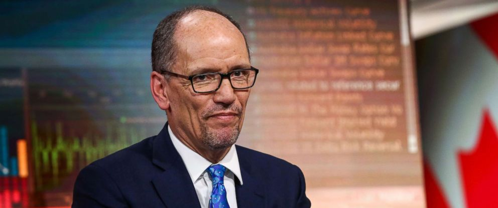 PHOTO: Tom Perez listens during a Bloomberg Television interview in N.Y., Jan. 31, 2018.