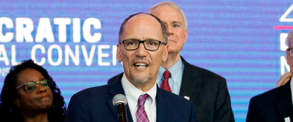 PHOTO: Chair of the Democratic National Committee Tom Perez speaks during a press conference at the Fiserv Forum in Milwaukee, Wisconsin, March 11, 2019, to announce the selection of Milwaukee as the 2020 Democratic National Convention host city.