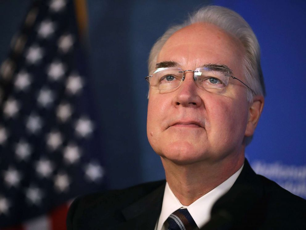 PHOTO: Former U.S. Heath and Human Services Secretary Tom Price participated in an event to promote the flu vaccine at the National Press Club Sept. 28, 2017 in Washington, DC.