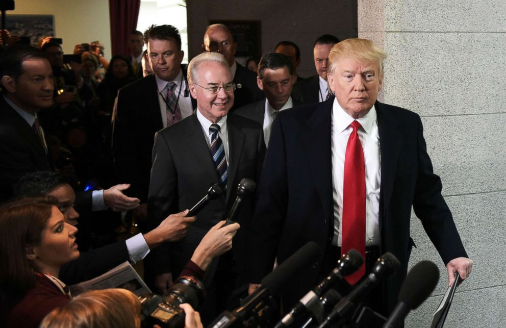 Health and Human Services Secretary Tom Price and President Donald Trump arrive at the US Capitol to meet with the Republican House Conference, March 12, 2017.