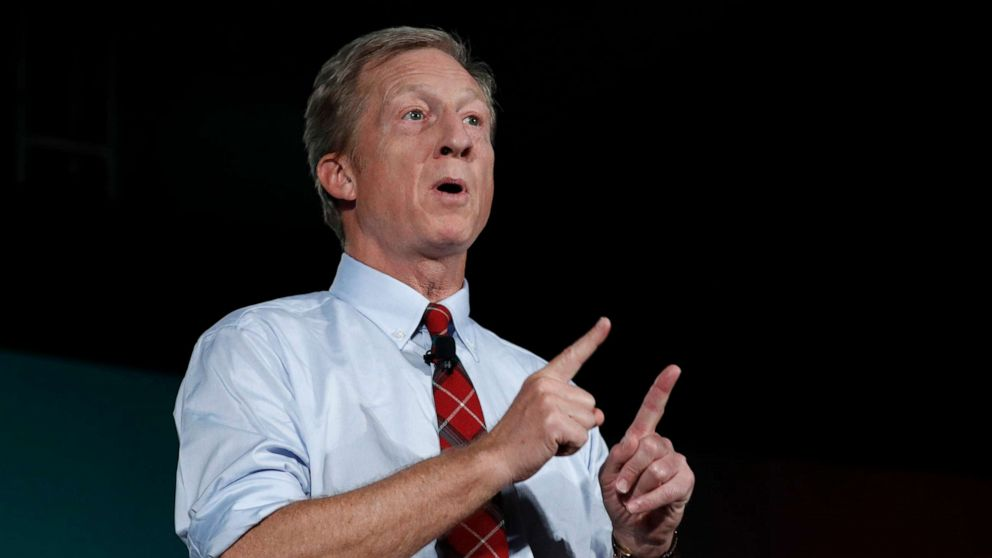 Businessman Tom Steyer defends status in 2020 race, drawing contrast with Bloomberg on wealth tax