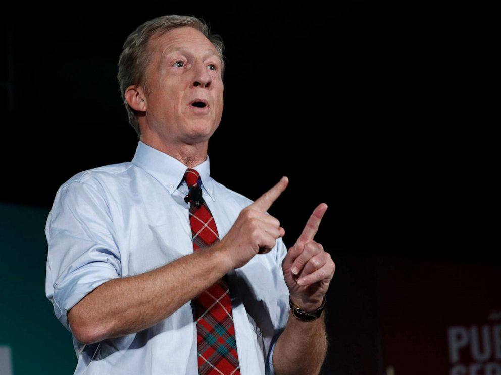 PHOTO: Democratic presidential candidate and businessman Tom Steyer speaks during a public employees union candidate forum, Aug. 3, 2019, in Las Vegas.