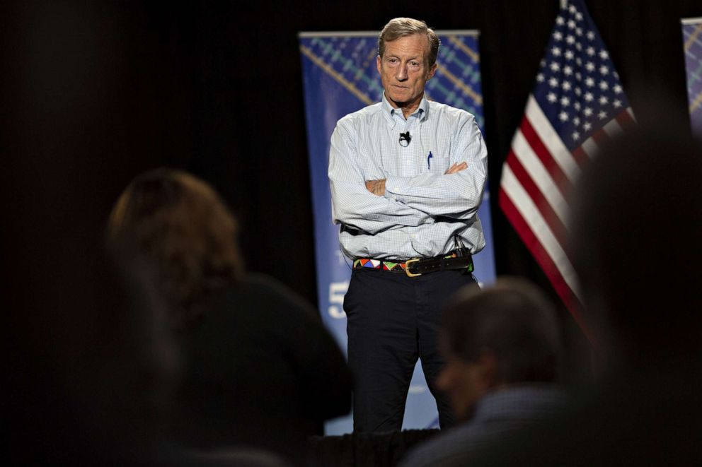 PHOTO: Tom Steyer, co-founder of NextGen Climate Action Committee, listens to a question during a town hall event in Ankeny, Iowa, on Jan. 9, 2019.
