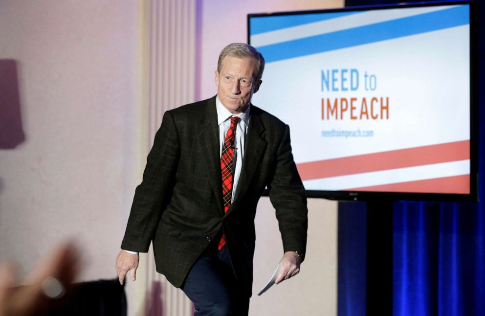 PHOTO:Billionaire investor and Democratic activist Tom Steyer steps on a stage at the start of a Need to Impeach town hall event, in Agawam, Mass., March 13, 2019.