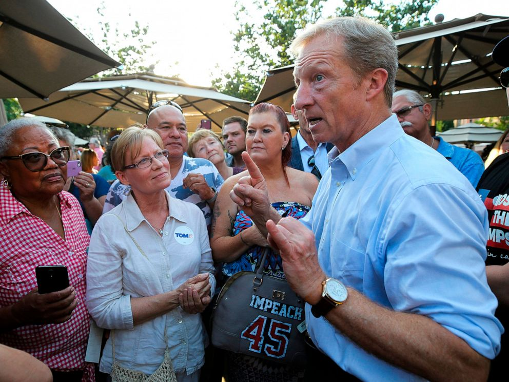 PHOTO: Tom Steyer, a candidate in the 2020 Democratic Party presidential primaries, speaks to supporters in San Diego, Calif., on Aug. 27, 2019.
