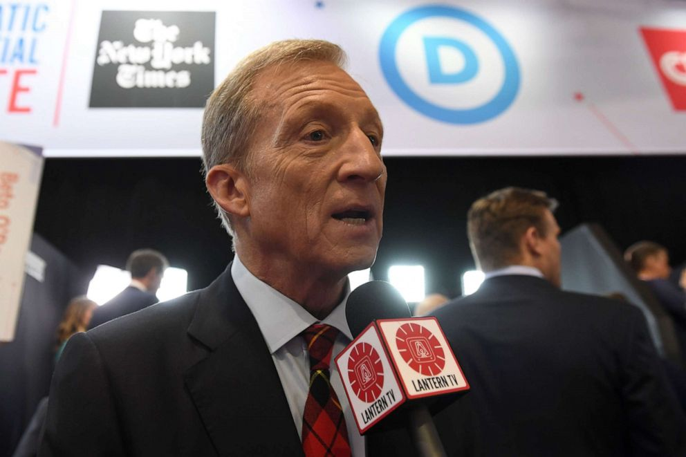 PHOTO: Democratic presidential hopeful businessman Tom Steyer speaks to the press in the spin room after the fourth Democratic primary debate at Otterbein University in Westerville, Ohio, Oct. 15, 2019.
