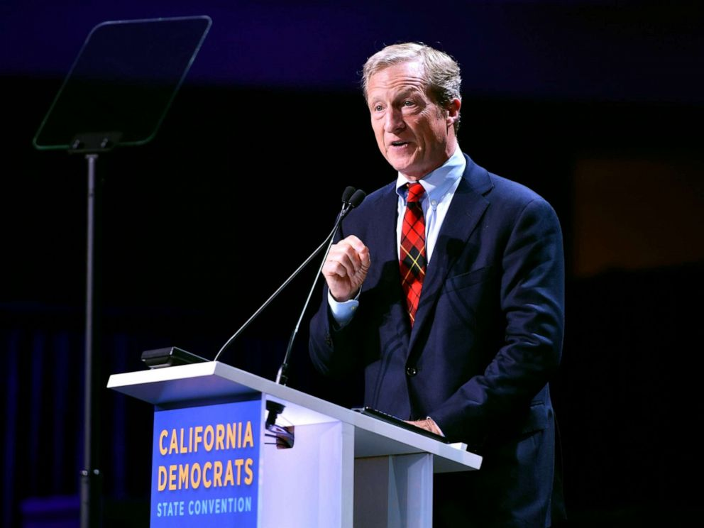 PHOTO: Tom Steyer speaks on stage during the 2019 California Democratic Party State Convention at Moscone Center in San Francisco, June 1, 2019.