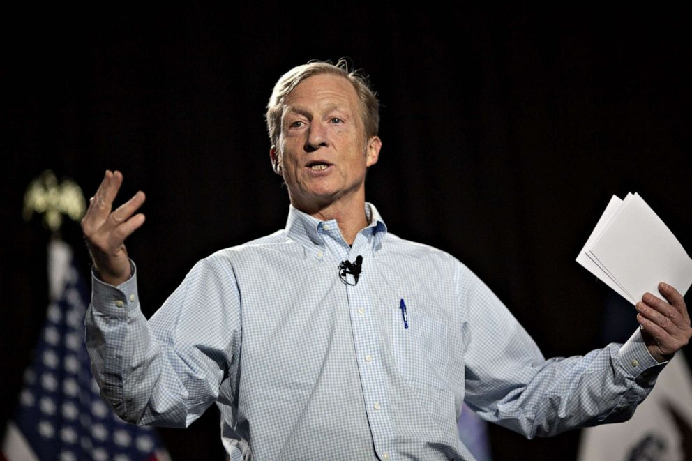 PHOTO: Tom Steyer, co-founder of NextGen Climate Action Committee, speaks during a town hall event in Ankeny, Iowa, Jan. 9, 2019.