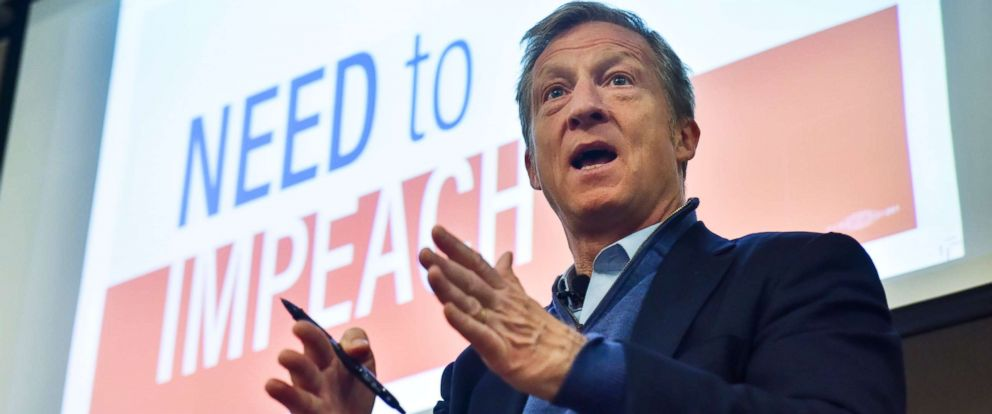 "PHOTO: Tom Steyer holds one of his ""Need to Impeach"" town hall meetings at Doubletree Hotel on March 20, 2018, in Largo, Md."