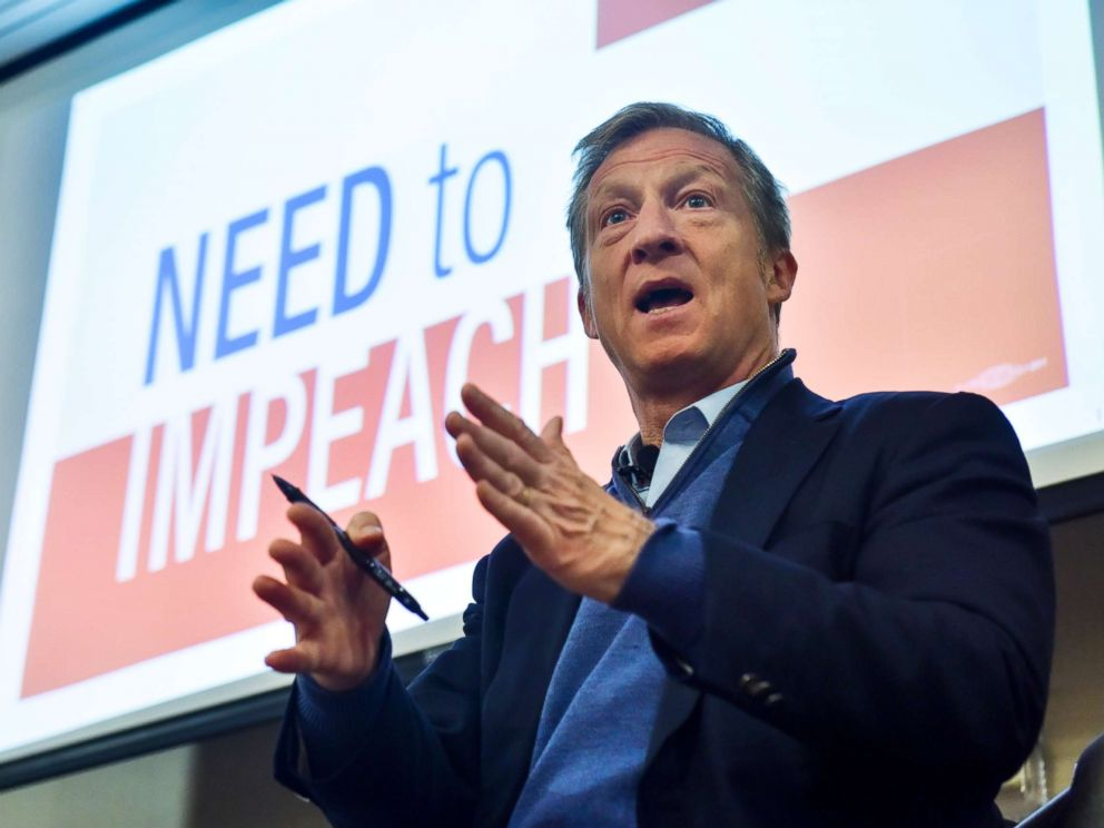 PHOTO: Tom Steyer holds one of his Need to Impeach town hall meetings at Doubletree Hotel on March 20, 2018, in Largo, Md.