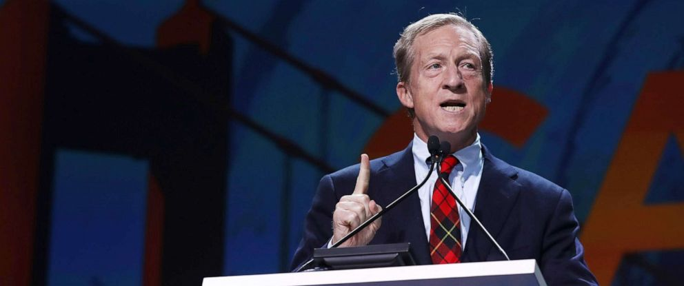 PHOTO: Tom Steyer speaks during the California Democrats 2019 State Convention at the Moscone Center on June 01, 2019, in San Francisco.