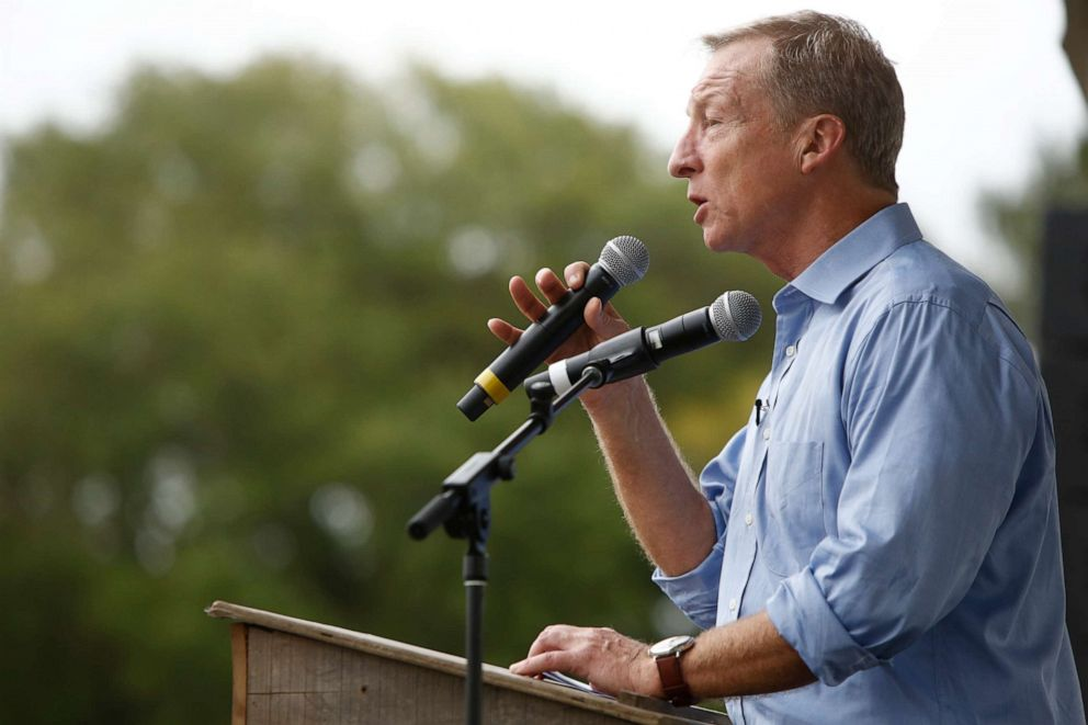 PHOTO: Democratic presidential candidate, billionaire Tom Steyer speaks to attendees during the Blue Jamboree, Oct. 5, 2019, in North Charleston, South Carolina.