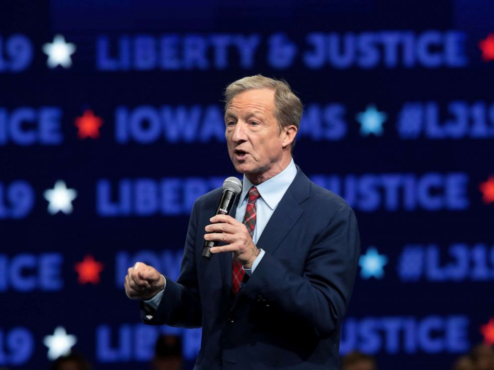 PHOTO: Democratic presidential candidate, philanthropist Tom Steyer speaks at the Liberty and Justice Celebration at the Wells Fargo Arena, Nov. 1, 2019, in Des Moines, Iowa.