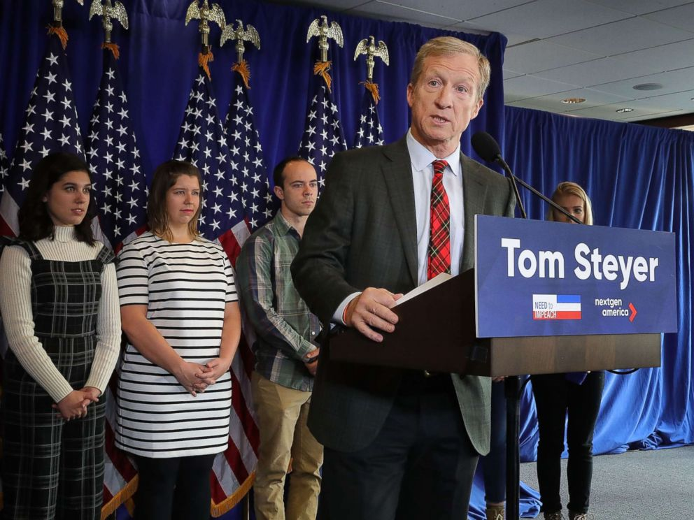PHOTO: Hedge fund billionaire, Democratic mega-donor, and environmentalist Tom Steyer holds a news conference regarding his political future and plans Jan. 8, 2018, in Washington, DC.