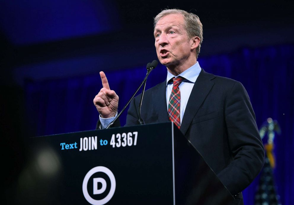 PHOTO: 2020 Democratic presidential hopeful Tom Steyer speaks during the Democratic National Committees summer meeting in San Francisco, Calif., Aug. 23, 2019.