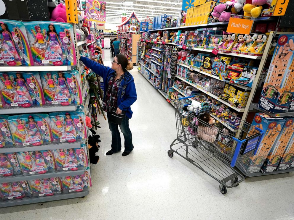 PHOTO: In this Nov. 9, 2019, file photo, a shopper looks through toys at a Walmart Supercenter in Houston.