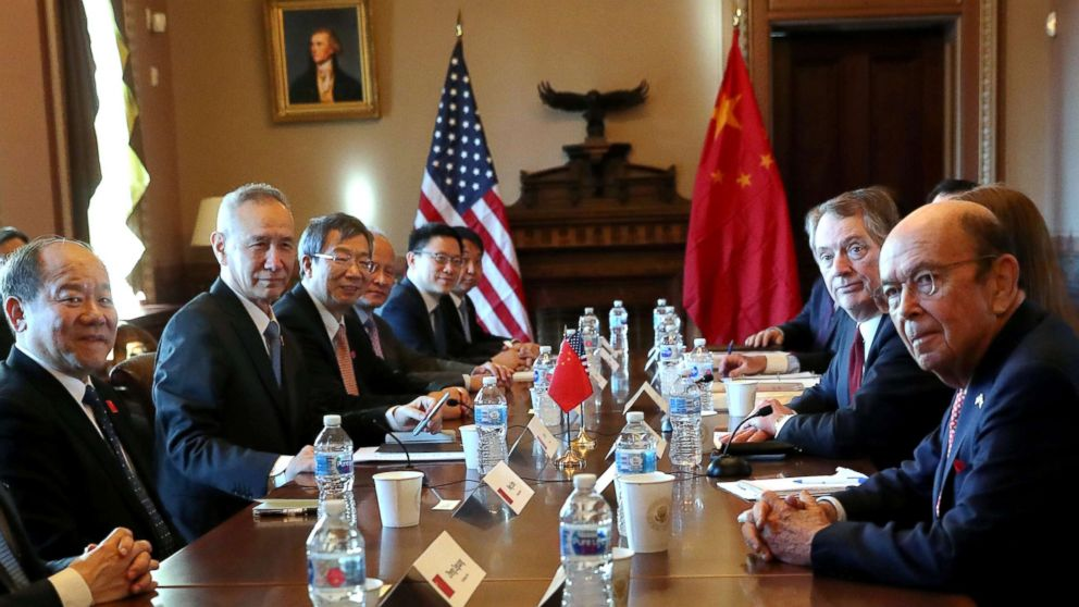 U.S. Trade Representative Robert Lighthizer speaks across from China's Vice Premier Liu He during the opening of U.S.-China Trade Talks in the Eisenhower Executive Office Building at the White House in Washington, Jan.30, 2019.