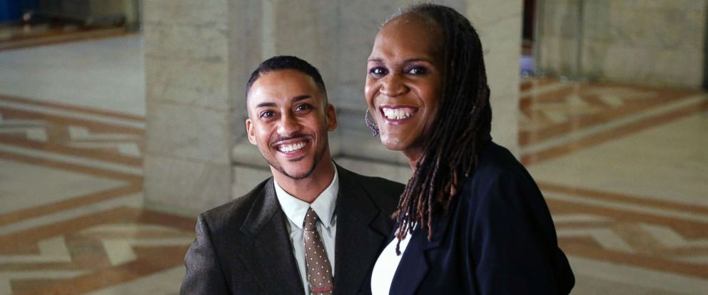 PHOTO: Newly elected city council members Phillipe Cunningham, left,and Andrea Jenkins shown at City Hall, Nov. 9, 2017. The two are transgender representatives-elect that were elected into office.