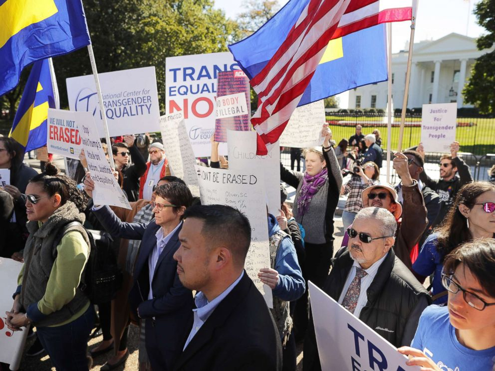 PHOTO: LGBT activists from the National Center for Transgender Equality, partner organizations and their supporters hold a rally in front of the White House, Oct. 22, 2018.